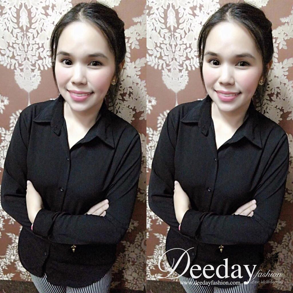 เสื้อเชิ้ตผู้หญิง เสื้อเชิ้ตสีดำ แฟชั่นเสื้อเชิ้ต