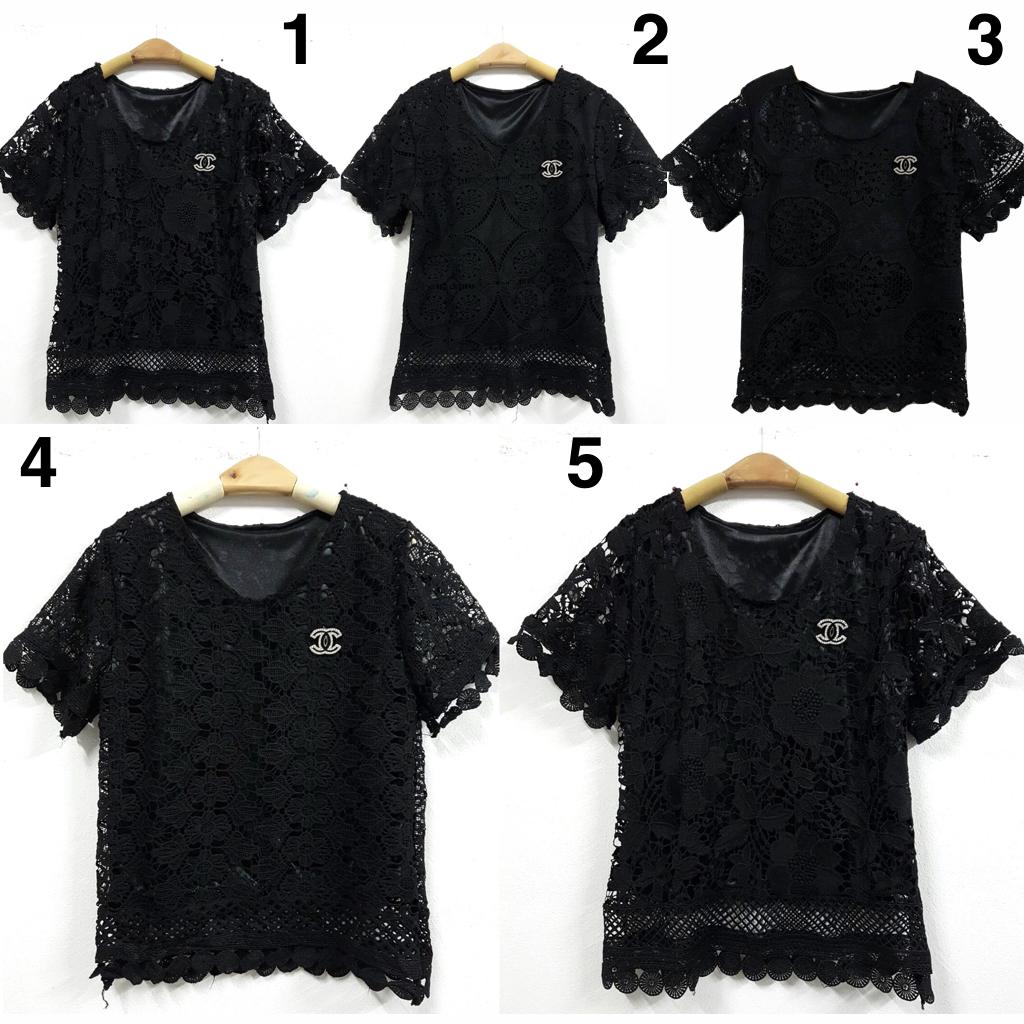 เสื้อลูกไม้สีดำ แฟชั่นเสื้อลูกไม้สีดำ