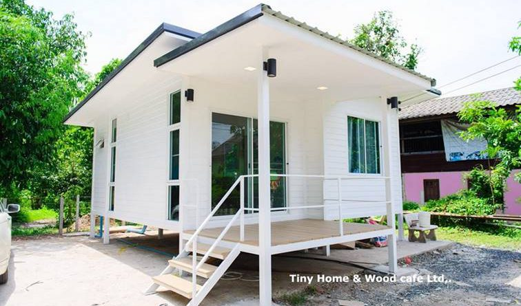 บ้านน็อคดาวน์หลังเล็กสีขาว ไอเดียสำหรับบ้านสวน ดีไซน์น่ารัก