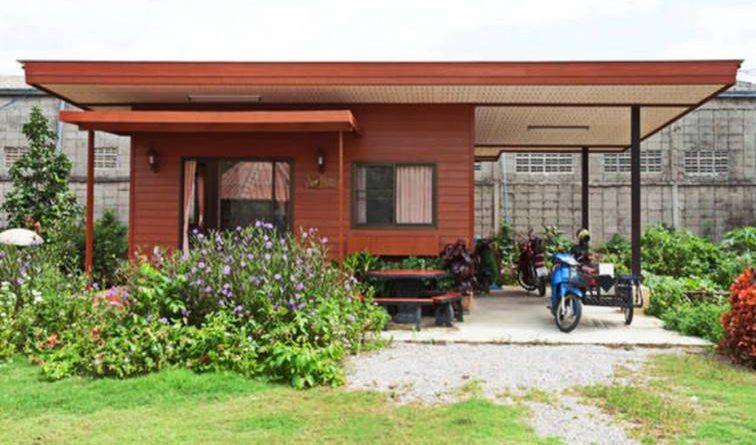 บ้านสไตล์โมเดิร์นยกพื้นหลังเล็ก ขนาด 1 ห้องนอน ใช้งบ 3 แสน