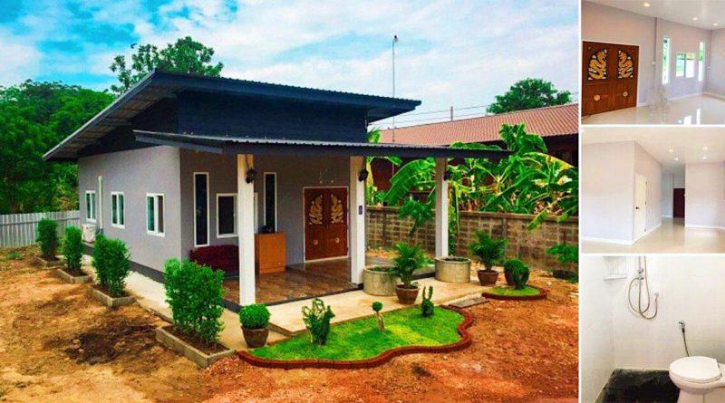 บ้านชั้นเดียวสไตล์โมเดิร์นสีเทาหลังเล็ก 1 ห้องนอน 1 ห้องน้ำ งบ 300,000