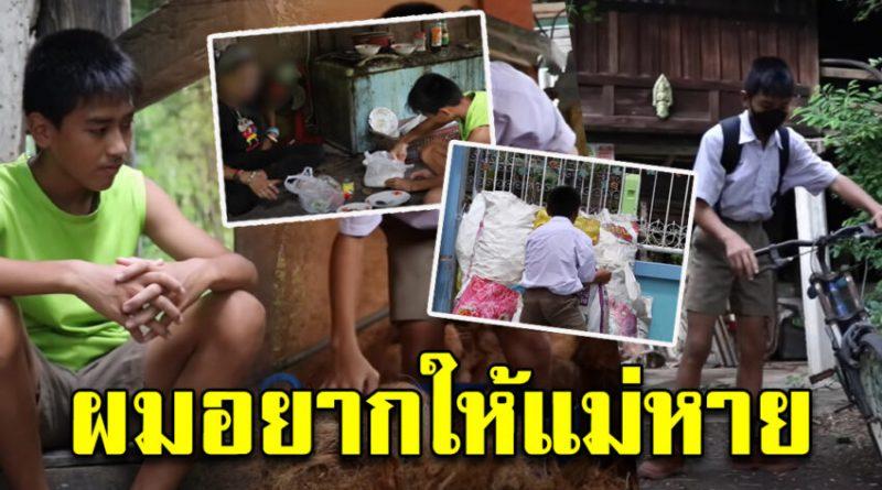 เด็กชายยอดกตัญญู วัย 13 ปี ยอมโดดเรียน ทำงานสุจริตแลกเงิน เพื่อดูแลแม่ที่ป่วย